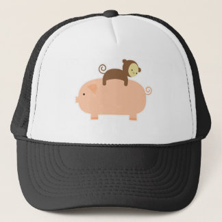 Baby Monkey Riding on a Pig Trucker Hat