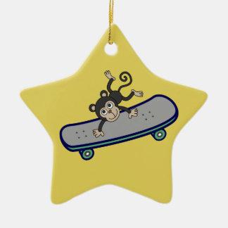baby Monkey riding skateboards Christmas Ornament