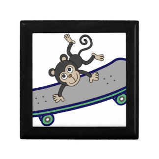 baby Monkey riding skateboards Small Square Gift Box