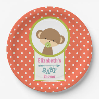 Baby Monkey with a Pacifier Baby Shower Paper Plate