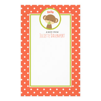 Baby Monkey with a Pacifier on Polka Dots Hello Stationery