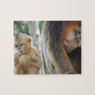 Baby monkey with his mother jigsaw puzzle