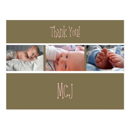 Baby monogram thank you, insert your photos postcards