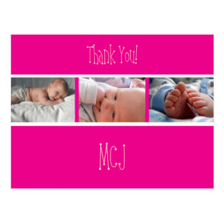 Baby monogram thank you/photos postcard