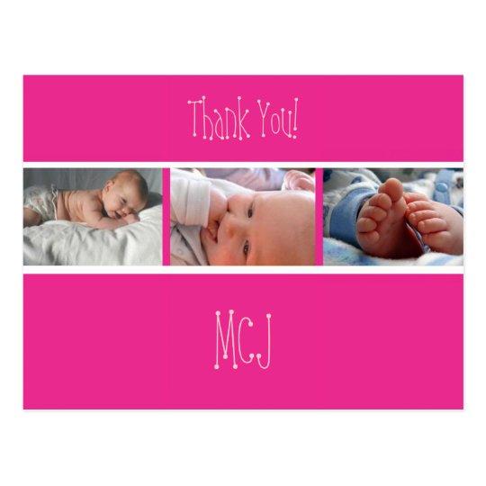 Baby monogram thank you/photos postcard