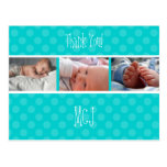 Baby monogram thank you, polka dots post cards
