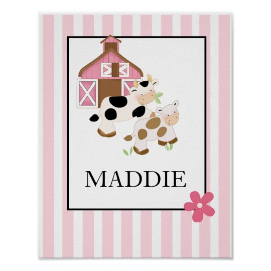 Baby Moo Cow Farm Pink Name Print Personalised