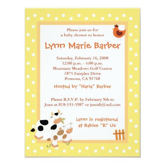 Baby Moo Cow Farm Yard Baby Shower Yellow Card