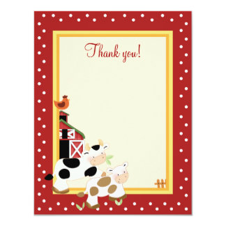 BABY MOO COW (Red) 4x5 Flat Thank you note 11 Cm X 14 Cm Invitation Card