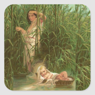 Baby Moses And The River Nile Square Sticker