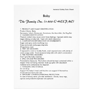 Baby MSDS / SDS 21.5 Cm X 28 Cm Flyer