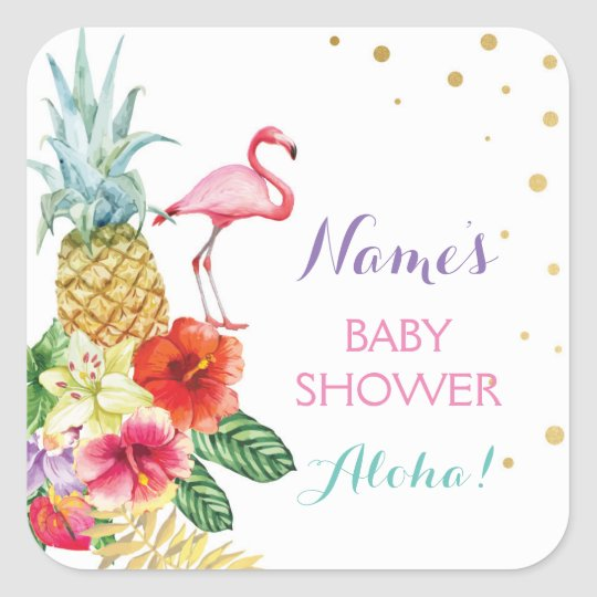 Baby Mum Shower Aloha Flamingo Tiki Stickers Label