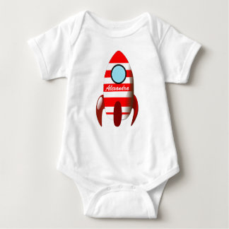 Baby Name on Space Rocket Baby Bodysuit