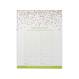 Baby Name Race Confetti Baby Shower Game Notepad