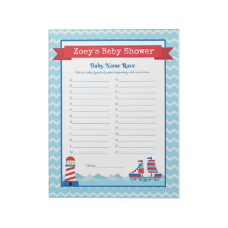 Baby Name Race Nautical Theme Baby Shower Game Notepad