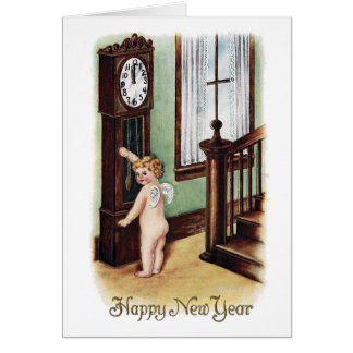 Baby New Year and Grandfather Clock Greeting Card