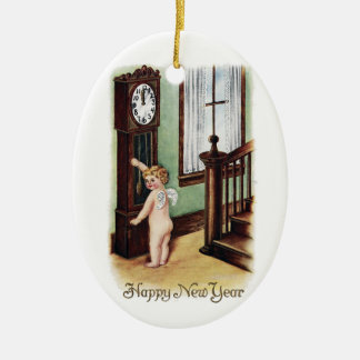 Baby New Year and Grandfather Clock Ceramic Oval Decoration