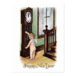 Baby New Year and Grandfather Clock Postcard