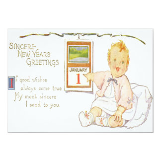 Baby New Year Calendar Happy 13 Cm X 18 Cm Invitation Card