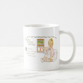 Baby New Year Calendar Happy Basic White Mug