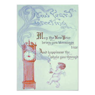 Baby New Year Cherub Angel Grandfather Clock 13 Cm X 18 Cm Invitation Card