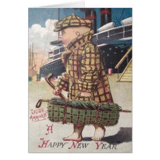 Baby New Year Cigar Golf Bag Ship Greeting Card