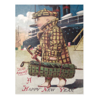 Baby New Year Cigar Golf Bag Ship Postcard