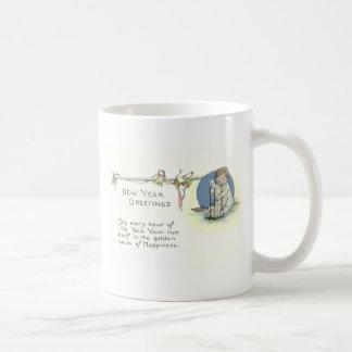 Baby New Year Hourglass Bell Basic White Mug