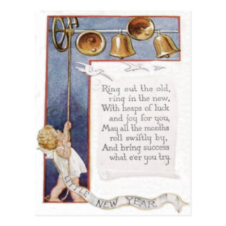 Baby New Year Ringing Bells Dove Postcard