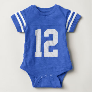 Baby Number 12 Football Jersey Bodysuit (Front)