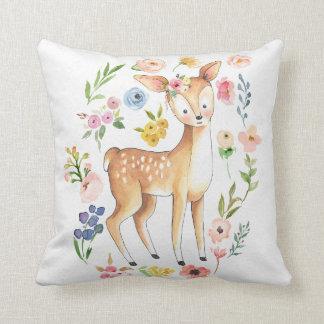 Baby Nursery Boho Woodland Deer Floral Pillow