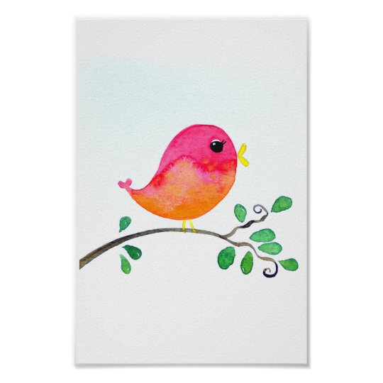 Baby Nursery wallart_ Watercolor Pink Bird Poster