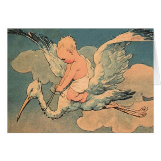 Baby on a Stork Greeting Card