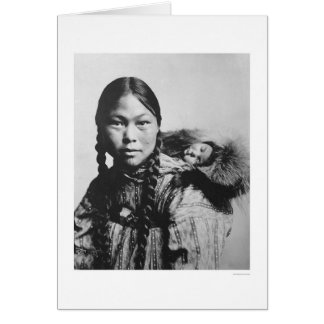 Baby On Eskimo Mom s Back 1906 Greeting Card