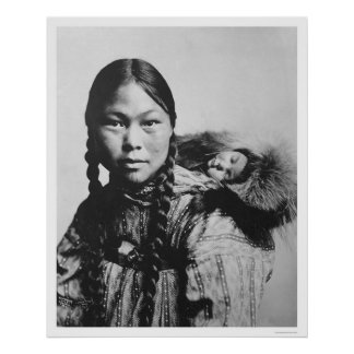 Baby On Eskimo Mom s Back 1906 Posters
