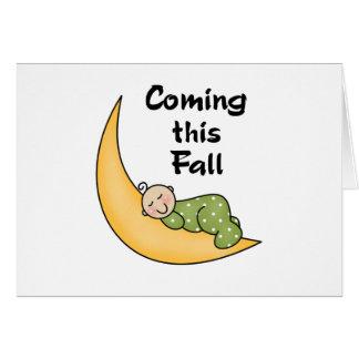 Baby on Moon Fall Greeting Card
