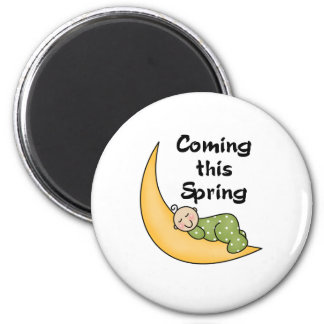 Baby on Moon Spring Magnet