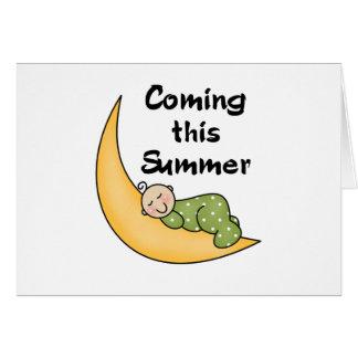 Baby on Moon Summer Greeting Card