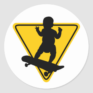 Baby on (Skate) Board Round Sticker