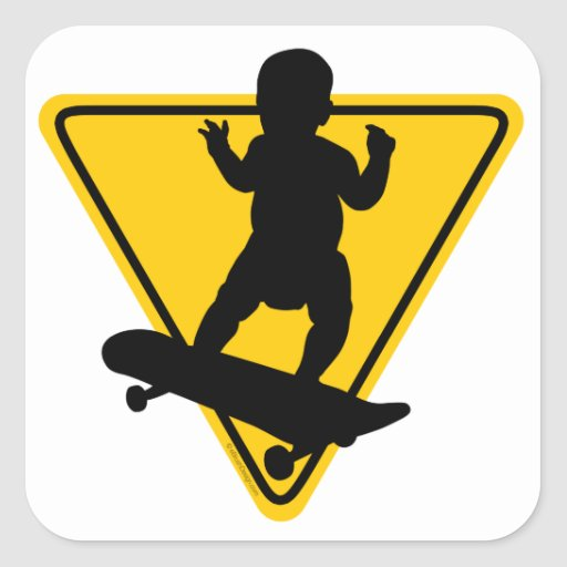 Baby on (Skate) Board Square Stickers