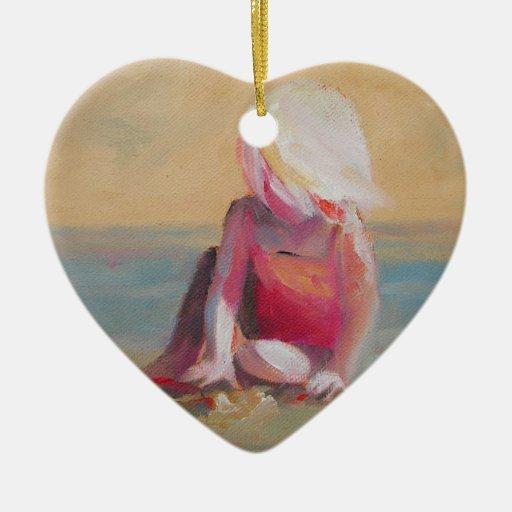 baby on the beach Double-Sided heart ceramic christmas ornament