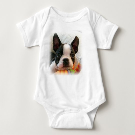 Baby One Piece Creeper with Boston Terrier Puppy