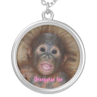 Baby Orangutan in Borneo Silver Plated Necklace