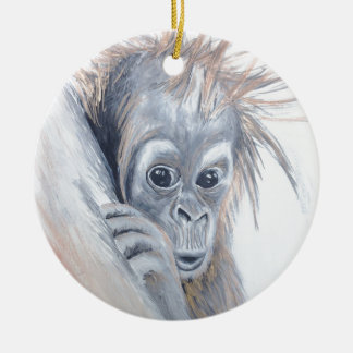 Baby-Orangutan Round Ceramic Decoration