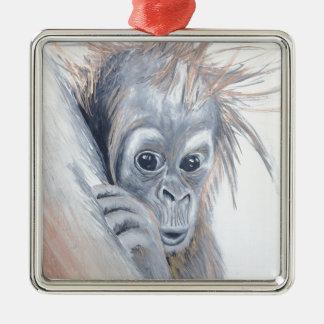 Baby-Orangutan Silver-Colored Square Decoration