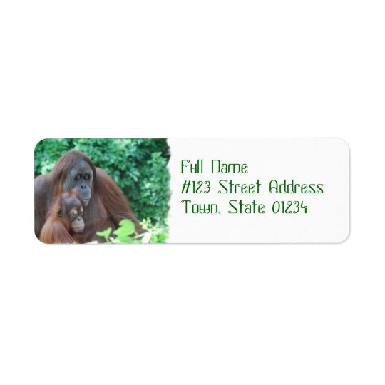 Baby Orangutan with Mother Mailing Labels