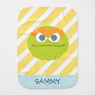 Baby Oscar the Grouch Big Face | Add Your Name Baby Burp Cloth