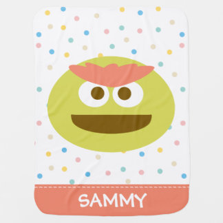Baby Oscar the Grouch Face | Add Your Name Pram blankets