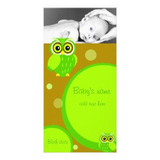Baby Owl Announcement Custom Photo Card