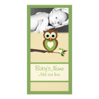 Baby Owl Announcment Photo Greeting Card